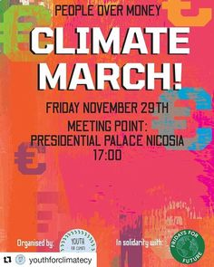 #Repost @youthforclimatecy  Climate March: People>Money FRI 29NOV 17:00  The irony of the climate crisis is that we know who is creating the problem and we have the current technology to fix it.  Why do politicians then keep searching for the 'roots' of the problem prolonguing immediate action? Why do they constantly ignore the alarming scientific revelations and still insist on investing on new fossil fuels extraction sites? Most importantly why do they barely respond to the calls and protests  Immediate Action, Politicians, Fossil, Searching, Roots, Investing, March, Technology, Money