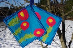 Pot holders  hot pads  felted hot pads  wool hot pads