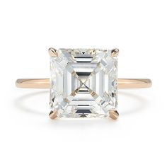 4 Carat Asscher Diamond Solitaire Ring in Rose Gold - Marisa Perry Engagement Rings Sale, Unique Diamond Engagement Rings, Diamond Solitaire Rings, Traditional Engagement Rings, Wedding Rings, Diamonds, Glitters, Bling Bling, Shower Ideas
