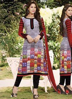 Red And Black Digital Print Georgette Churidar Dress http://www.angelnx.com/Salwar-Kameez/Churidar-Suits