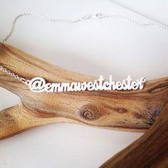 Custom sterling silver social media name necklace. http://survivalofthehippest.com/order.html
