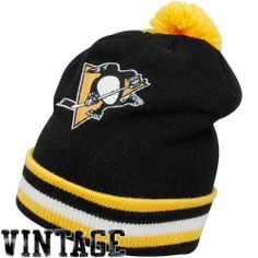 Mitchell & Ness Pittsburgh Penguins Black Vintage Jersey Stripe Cuffed Knit Beanie by Mitchell & Ness. $23.99