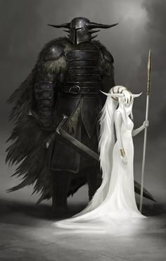 The Guardian by QuinnSimoes on DeviantArt. White witch and her black guard. Mage and knight Dark Fantasy, Medieval Fantasy, Fantasy World, Character Concept, Character Art, Concept Art, Character Portraits, Fantasy Inspiration, Character Inspiration