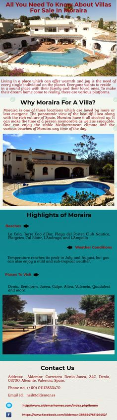 Moraira Villas are well-versed with all the essential amenities that you might require for a perfect home. From astounding location to top order of lifestyle, Villas in Moraira can offer you all. You can get information about the best Villas for Sale Moraira at online platforms such as Aldemar.