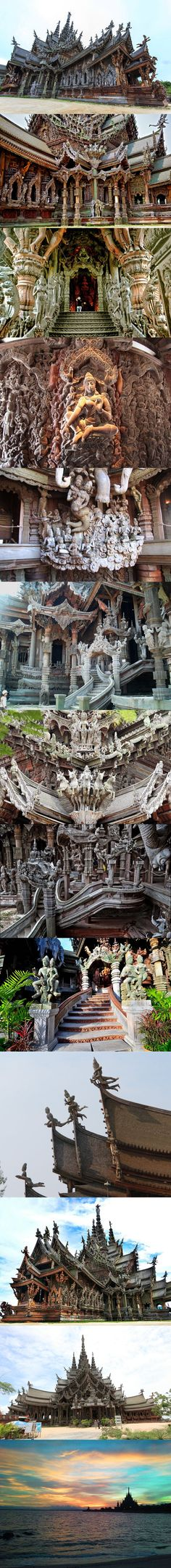 Sanctuary of Truth ( Wang Boran / Prasat Mai). The sanctuary is an all-wood building temple in Pattaya, Thailand, filled with sculptures based on traditional Buddhist and Hindu motifs.