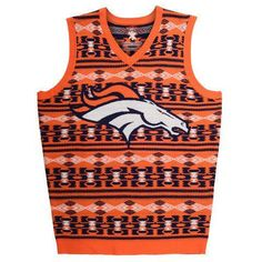 Denver Broncos Official NFL Men's Aztec Sweater Vest by Klew