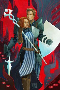 "steftastan: "" Tarot Card of Warden Astaria and Alistair for @sarcasmfish! """