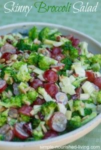 skinny broccoli salad recipe, my new favorite way to eat broccoli, crunchy, sweet and savory, vegetarian, 149 calories, 4 Weight Watchers Points Plus