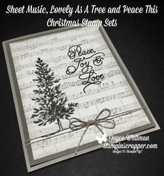 A simple Christmas card using the Lovely As A Tree, Peace This Christmas and Sheet Music stamp sets from Stampin' Up! by bethany