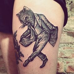Black and white dancing cat old School Tattoo