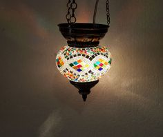 Moroccan lantern mosaic hanging lamp glass chandelier light lampen candle h 026  #Handmade #Moroccan