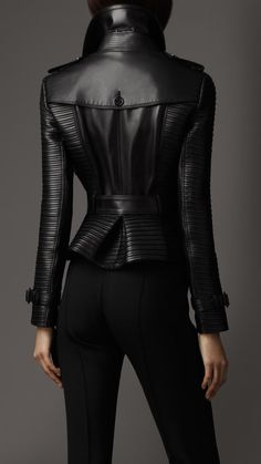 Women's Clothing - Peplum Detail Lambskin Biker Jacket Top Mode, Leder Outfits, Vetement Fashion, Burberry Jacket, Mode Vintage, Outerwear Women, Leather Fashion, Mantel, What To Wear