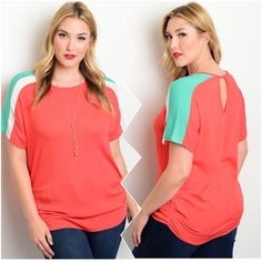 "Mint Ivory Orange Top Mint Ivory Orange Plus Size Top. This top features dual tone detail on shoulders, a round neckline and ruched hem on sides. Very cute and has keyhole opening at the back. Measurement Armpit to Armpit Size 2XL Bust: 23"" Length: 31"" Please feel free to ask any ❓❓❓ you may have. Thank you for looking and Happy Poshing!! Tops Tees - Short Sleeve"