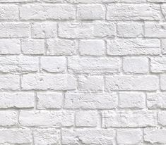 White-washed painted brick effect wallpaper. A contemporary design which would look good as a feature in any room and also coordinates with Britain in Frame White Brick Wallpaper, Brick Effect Wallpaper, White Brick Walls, Grey Brick, Faux Brick, Exposed Brick, Of Wallpaper, Designer Wallpaper, White Bricks
