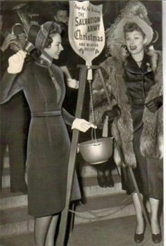 Lucille Ball opening Red Kettle Season in 1947