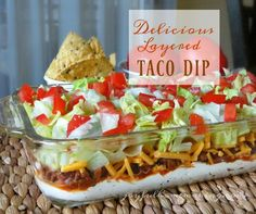 This scrumptious layered Taco Dip makes a great appetizer or a light meal!