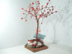 Red Coral 30 cm Copper Tree Red Coral, Unity, Copper, Brass