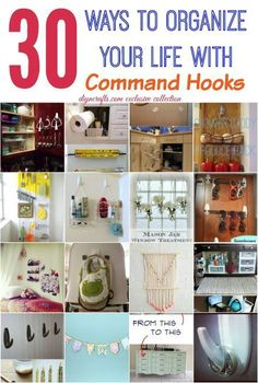 30 Wonderful Ways to Organize your Life with Command Hooks - Need an inexpensive, simple and effective way to declutter your home? The answer will almost always be command hooks! Declutter Your Home, Organize Your Life, Organizing Your Home, Organizing Tips, Organising, Command Hooks, Command Strips, Craft Storage Solutions, Storage Ideas