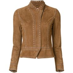Studded Jacket ($1,595) ❤ liked on Polyvore featuring outerwear, jackets, brown jacket and studded jacket