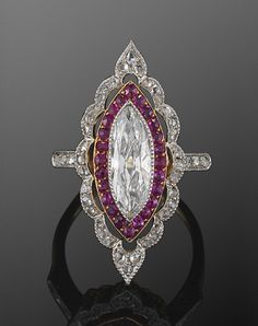 Edwardian Marquise Diamond and Ruby Ring, circa 1915