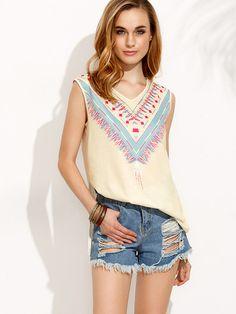 Camiseta escote V estampado abertura lateral-Sheinside