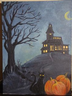Deliberately Creative- Haunted Hill Acrylic Painting inspired by Cinnamon Cooney's #artsherpa acrylic painting tutorials