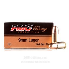 PMC 9mm Ammo - 50 Rounds of 124 Grain FMJ Ammunition #PMC #PMCAmmo #9mmAmmo #9mm #FMJ