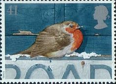 Christmas Robins 41p Stamp (1995) European Robin on Road Sign