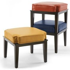 Stacking Ottoman in textured navy, textured saddle, or textured dark red/mulberry
