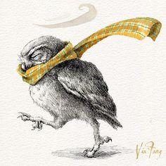 windy days ...... . #owl #owlart #owllove #owlstagram #illustration #illustrator #illustagram #art #artist #artwork #artstagram #artoftheday #instaart #instagood #instalike #instadaily #ink #watercolor #drawig #doodle #sketch #windyday #handdrawn #イラスト #britishweather #フクロウ #插畫 #visualart #viafang