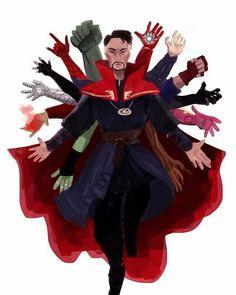 Doctor Strange and the Avengers fan art. Marvel Dc Comics, Marvel Avengers, Marvel Comics Wallpaper, Marvel Fanart, Comics Spiderman, Films Marvel, Memes Marvel, Marvel Funny, Avengers Fan Art