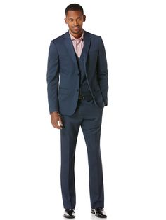 Slim Fit Textured Solid Suit