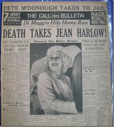 Death of Jean Harlow 1937