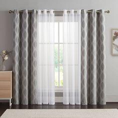 Double Window Curtains, Window Curtain Designs, Patio Door Curtains, Living Room Decor Curtains, Layered Curtains, Home Curtains, Rustic Curtains, Modern Curtains, Curtain Ideas For Living Room