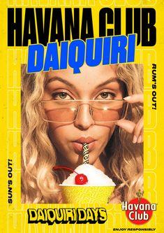 Havana Club Daiquiri - Fonts In Use Graphic Design Posters, Graphic Design Typography, Fashion Graphic Design, Logo Design, Retro Design, Layout Design, Havana Club, Typo Poster, Summer Poster