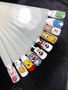 Shellac Nail Designs, Shellac Nails, Manicure, Cartoon Nail Designs, 3d Nail Designs, Cute Christmas Nails, Mickey Mouse Christmas, Disney Acrylic Nails, Gucci Nails