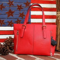 Concealed Carry Ambidextrous Smooth Leather Tote Handbag w/ Adjustable Holster