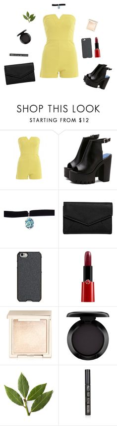 """""""Yellow"""" by viridiana-pulido ❤ liked on Polyvore featuring AX Paris, Child Of Wild, LULUS, Agent 18, Giorgio Armani, Jouer, MAC Cosmetics and Topshop"""