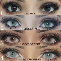 """Hidrocor Lenses 2 or or 4 ? Which eye color do you prefer? Stunning looks by wearing Solotica """"Hidrocor Collection"""" ?Get Solotica Lenses now! Green Contacts Lenses, Colored Eye Contacts, Lenses Eye, Contact Lenses For Brown Eyes, Colored Eye Contact Lenses, Circle Lenses, Solotica Ocre, Rare Eye Colors, Natural Color Contacts"""