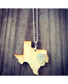 Wooden Texas Necklace with Crystal Heart - Wood  http://www.countryoutfitter.com/products/89390-wooden-texas-necklace-wood