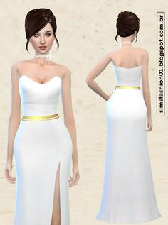 Satin Wedding Dress With Gold Belt at Sims Fashion01 • Sims 4 Updates