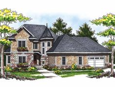 Eplans Chateau House Plan - European Beauty with Majestic Turret - 2656 Square Feet and 3 Bedrooms(s) from Eplans - House Plan Code HWEPL13719