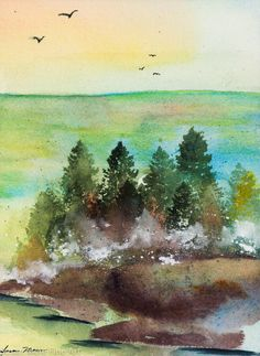 Original Watercolor by Susan Marie Fairclough, Ocean Point, Unmatted 9X12