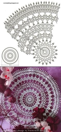 Free Crochet Doily Patterns, Crochet Doily Diagram, Modern Crochet Patterns, Crochet Circles, Crochet Motif, Crochet Designs, Crochet Doilies, Knitting Patterns, Crochet Dreamcatcher