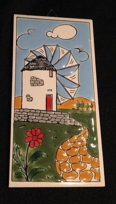 SoLD sorry you missed out on this.  VTG Hand Painted Ceramic Art Tile mykonos Windmill Scene greece Greek 3