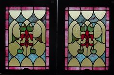 Antique American Stained Glass Windows with a fleur de lis design
