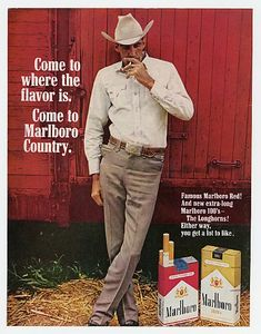 Marlboro Man by Histor Eidenai, via Flickr . I remember this ad throughout the 60's & 70's. Surprise, Surprise this guy (model) died from Cancer. I knew the first Marlboro man's first wife.