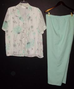 Alfred Dunner womens pants shirt outfit-Size 18-Mint Green gray white floral…