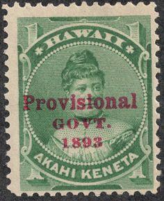 "Hawaii –  1893 Scott 55 1c green  Overprinted  in red ""Provisional Govt. 1893"""