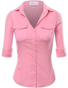FPT Womens Roll-Up Sleeve Button Down Shirt With Ribbed Sides (S-3XL)